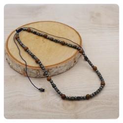 Męski naszyjnik-hematyt,drewno